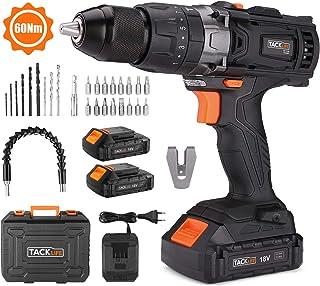Taladro Atornillador 18 V, TACKLIFE Taladro Percutor,Max 60 Nm, 2x 2.0Ah Baterías Litio 18V, 13 mm Portabrocas Automatico,1H Carga Rápida - PCD04B
