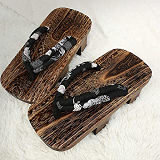YYTIANYY Flip flop Cosplay Geta Clogs Slippers Japanese Wooden Shoes Men Women Sandals-B_36 Wooden slippers (Color : A, Si...