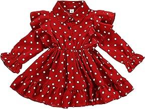 Toddler Baby Girl Dress Red Polka Dot Ruffle Shirt Dress Dresses