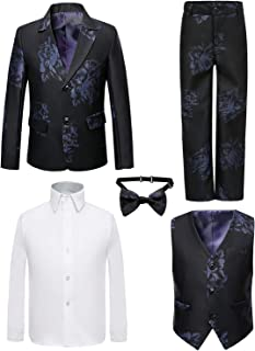 Boy's 5 Pieces Tuxedos Toddler Formal Suits Set Kids Slim Fit Suit for Weddings