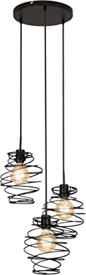 Briloner Leuchten Lampes suspension, lampe suspension 3 flammes, lampe suspension rétro/vintage, Acier noir, 3x E27, max. 60 Watt, noir, 425x1300mm (épaisseur (E)xH)