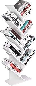 Homfa Mensola Libreria di Legno, Scaffale Porta Libri, CD, Documenti, Scaffalatura Albero da Muro di Disegno Moderno Bianco 40 x 20 x 127cm