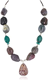 $280Tag Silver Drop Certified Navajo Natural Turquoise Agate Native Necklace 24514-2 Made by Loma Siiva