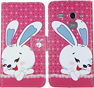 Gukas Flip Premium PU Leather Card Slot Protector Phone Case for Doro Liberto 820 Mini Cover Etui Book Wallet Magnetic Folio Stand Holder Protective Skin Protection Bumper (Rabbit)