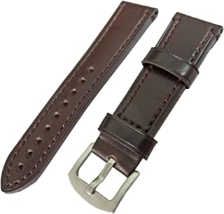 New 22mm Dark Brown Mens Genuine Leather Watch Strap Band Stainless Steel Buckle