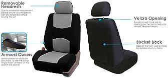2 Car Seat Covers Semi-Custom Cloth Fabric Compatible to Dodge 860 Gray