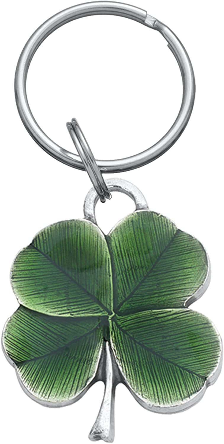 """Danforth Four Leaf Clover Keychain (Green), Handcrafted Pewter, 1 ½"""" Tall and 1 ¼"""" Wide, Made In USA"""
