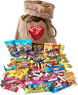 The Best of British Retro Candy Assortment 100 pcs / 2.2 pound in Basically British Burlap Bag (Standard)