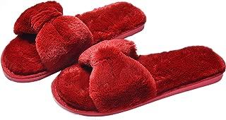 Nanxson Women's Winter Fluffy Plush Bow Slippers Open-Toe Indoor Flannel Fur Slide House Shoes TX0077