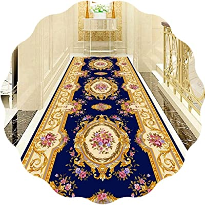JIAJUAN Hallway Runner Rug Non Skid Area Rugs European Style for Kitchen Hall Entrance Floor - Blue and Red, Customisable (Color : A, Size : 100x400cm)