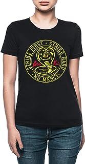 Vendax Strike First Strike Hard No Mercy - Cobra Kai T-Shirt Donna Nero