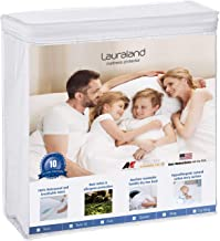 Lauraland King Size Mattress Protector, Hypoallergenic Breathable Waterproof Mattress Cover, Vinyl Free Soft Cotton Terry Surface Protector- 10 Year Warranty, White