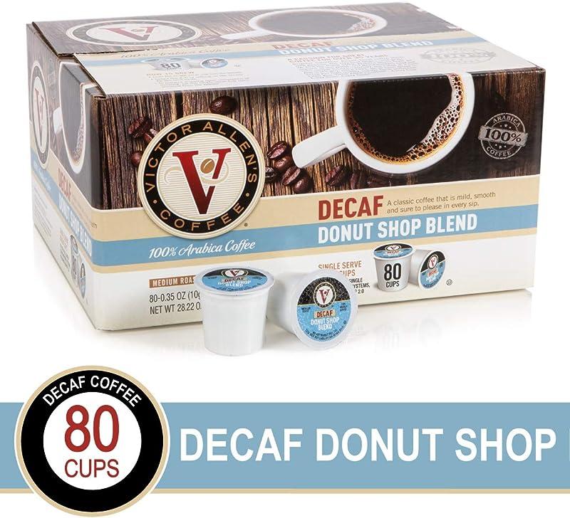 Decaf Donut Shop Blend For K Cup Keurig 2 0 Brewers 80 Count Victor Allen S Coffee Medium Roast Single Serve Coffee Pods