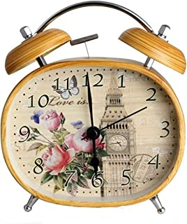 Jfoier baby girl suit Student Double Bell Creative Alarm Clock Vintage Children Gifts Metal Wood Grain Decoration Desk Table Clocks,Gray