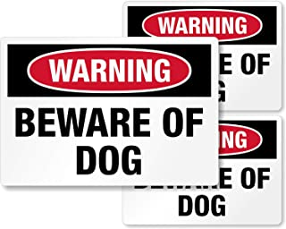 """SmartSign Warning Beware of Dog Decal Set of 3