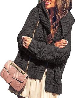 Outwears Rosa Con Capucha De Gran Tamaño Cardigan De Las Mujeres De La Moda Sólido Otoño Invierno De Punto Suelto Suéter D...