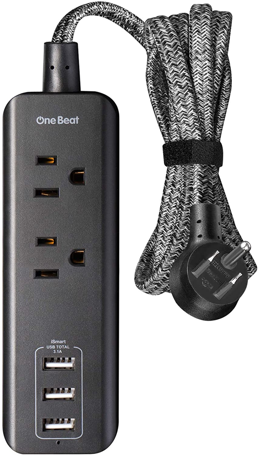 Power Strip with 3 USB Charging Ports(15W/3.1A) and 2 Outlets, Desktop Charging Station with 5 Ft Braided Extension Cord, Right Angle Flat Plug, Small for Travel , Cruise, Home and Office, ETL Listed
