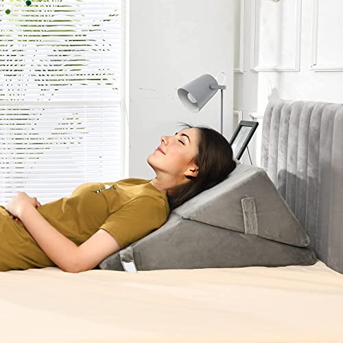 popular Giantex Bed Wedge Pillow with Adjustable Back Support Detachable Headrest, Memory Foam Fill, Soft Washable Cover, Incline outlet sale Bed Rest high quality for Reading, Sitting up & Sleeping Snoring Pillow (Gray) sale