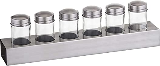 MASTERPRO Deluxe Spice Jar with Stainless Steel Base Set/7, Stainless Steel/clear, MPSPICERACK