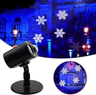 ELEOPTION Snowflake Projector Light, Christmas Decorative Spotlight Blue Ocean Water Wave Landscape Projector 2 in 1 Function with Timer Outdoor Snowflake Lights for Christmas Garden Party Home Decor