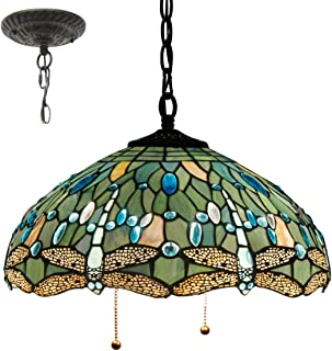 Tiffany Hanging Lamp 16 Inch Pull Chain Sea Blue Stained Glass Lampshade Crystal Bead Dragonfly Anqitue Chandelier Ceiling Style Pendant 2 Light Fixture for Dinner Room Living Room Bedroom S147