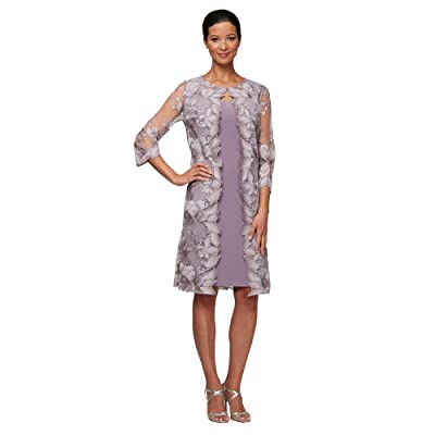 Alex Evenings Short Embroidered Elongated Mock Jacket Dress (Smokey Orchid) Women