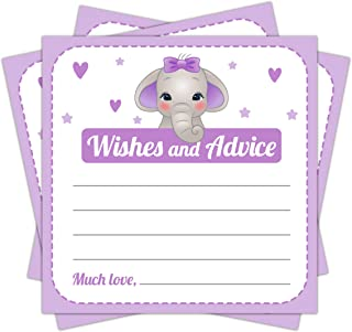 Purple Elephant Baby Shower Wishes and Advice Cards Games Activities Ideas for Girls - 25 Pieces - Mommy Parent Keepsake