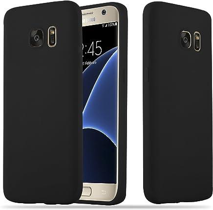 Cadorabo Hülle für Samsung Galaxy S7 - Hülle in Candy SCHWARZ – Handyhülle Schutzhülle aus TPU Silikon im Candy Design - Ultra Slim Soft Back Cover Case Bumper