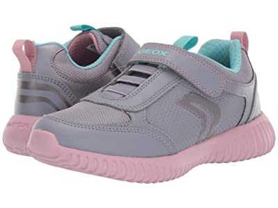 Geox Kids Jr Waviness 11 (Little Kid/Big Kid) (Grey/Pink) Girls Shoes