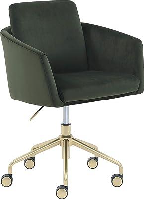 """Amazon Brand – Rivet Bertha Mid-Century Velvet-Upholstered Swivel Office Chair, 25.25""""W, Olive Green with Gold Finish"""