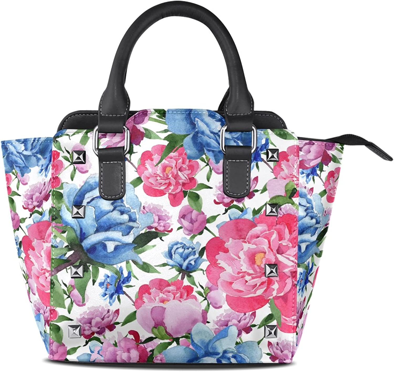 My Little Nest Women's Top Handle Satchel Handbag Watercolor Style Wild Flower Ladies PU Leather Shoulder Bag Crossbody Bag