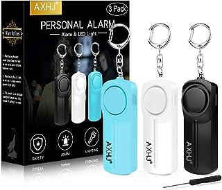 AXHJ Safe Sound Personal Alarm, 130dB Emergency Alarm Siren Song Keychain with LED Light, SOS Safety Alarm Self Defense for Women, Men, Children, Elderly, Joggers (3 Pack, Black, White, Blue)