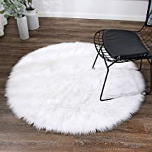 LEEVAN Super Soft Faux Fur Sheepskin Rug Shaggy Rug Round Area Rugs Floor Mat Home Decorator Carpets Kids Play Rug Ivory W...