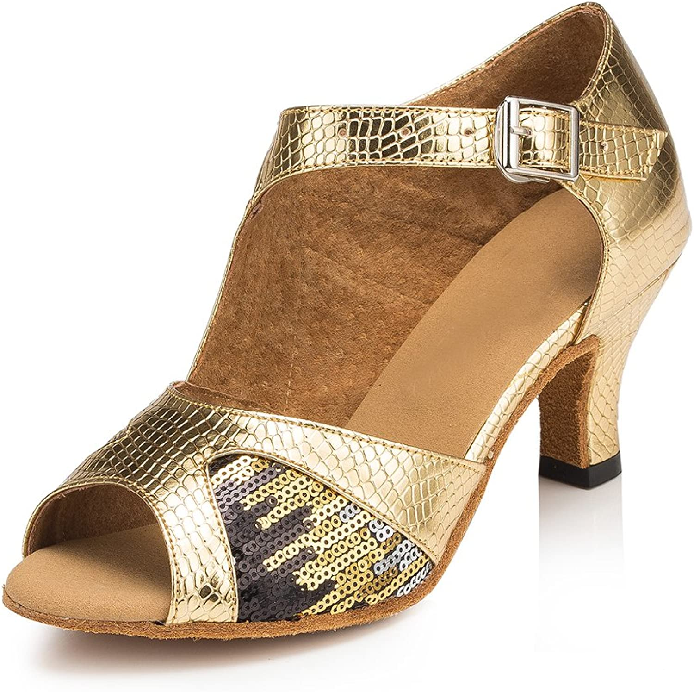 Misu Women's Peep Toe Sandals Latin Salsa Tango Practice Ballroom Dance shoes with 2.3  Heel gold