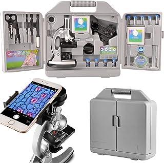 Moutec Sistema de microscopio educativo para niños, 300 x 600x 1200x ampliaciones, incluye 70pcs + accesorios y práctico estuche de almacenamiento con adaptador de teléfono inteligente