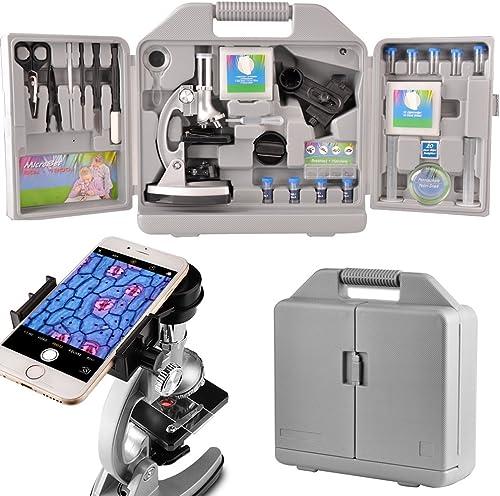 conveniente Moutec Sistema de microscopio educativo para Niños, 300 x 600x 600x 600x 1200x ampliaciones, incluye 70pcs + accesorios y práctico estuche de almacenamiento con adaptador de teléfono inteligente  El nuevo outlet de marcas online.