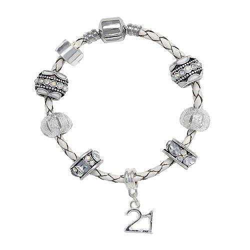21st Birthday Leather Charm Bracelet Pandora Style Gift Boxed 19cm