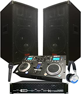 """Starter Dj System - 2100 WATTS - Connect your Laptop, iPod via Bluetooth, USB, MP3`s or Cd`s! 10"""" Speakers, Amp, Mixer/Cd ..."""