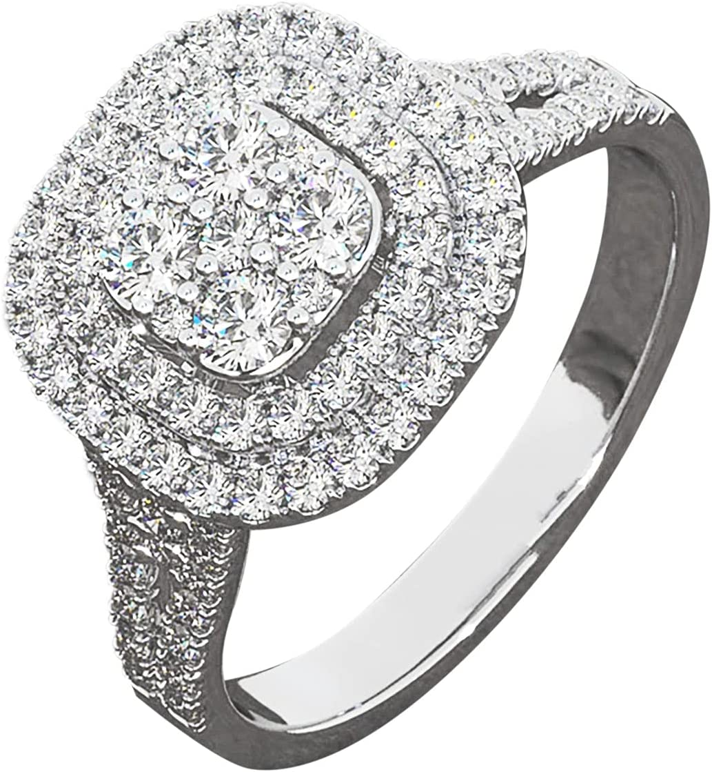 Mulyyds Diamond Ring Solitaire Engagement Women In for Her Large-scale sale depot