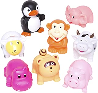 Elegant Baby Bath Time Fun Rubber Water Squirties, Animal Party, Set of 8 Bath Squirt Toys