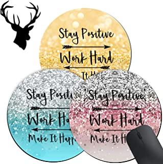 3 Pack Gaming Mouse Pad, Stay Positive Work Hard and Make It Happen Arrow Pattern Design Mouse mat, Round Mouse Pads for t...