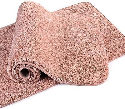 "VANZAVANZU Bathroom Rugs 20""x32"" (2 Pack) Ultra Soft Absorbent Non Slip Fluffy Thick Microfiber Cozy Bath Mat for Tub Shower Bathroom Floors Accessories (Petal Pink)"