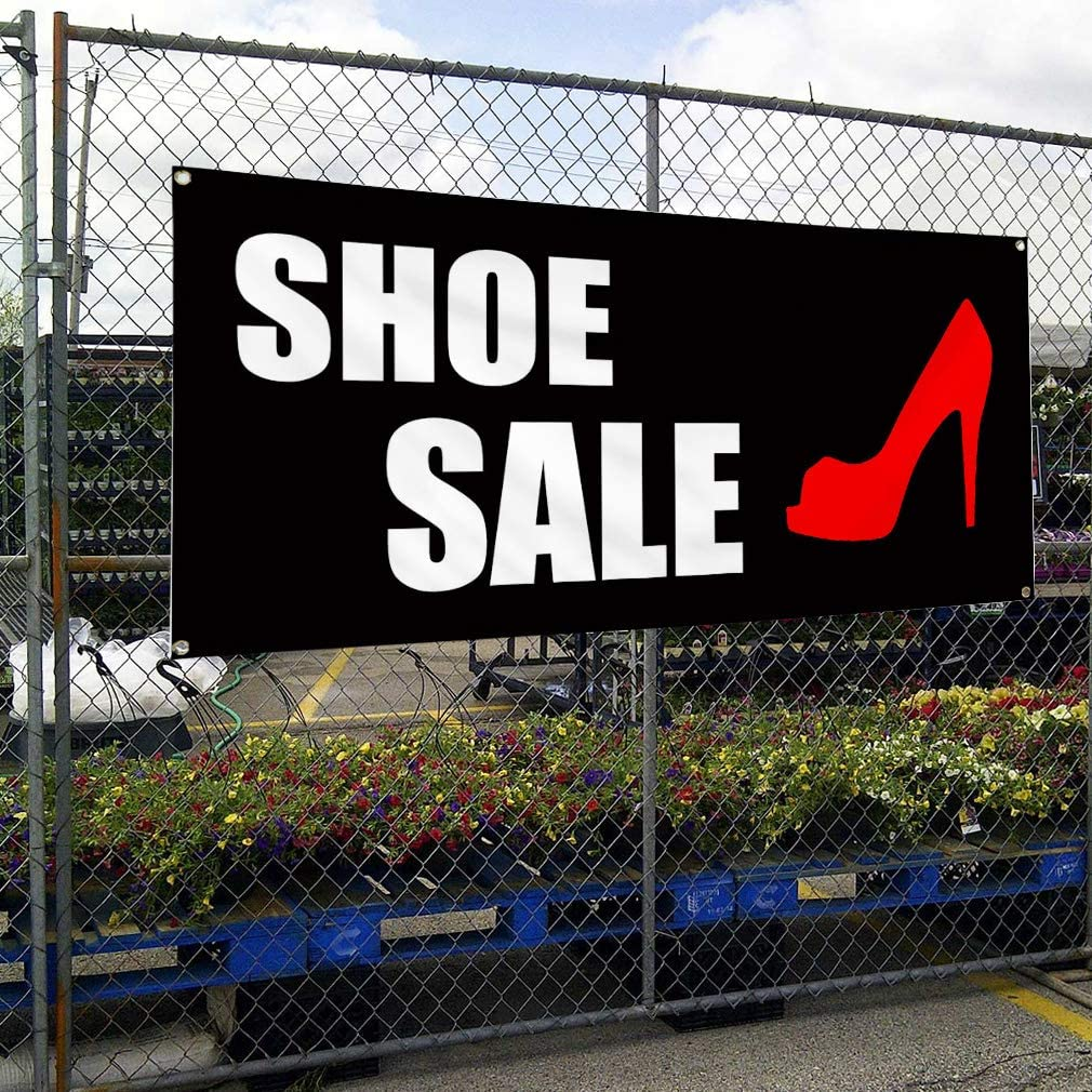 Vinyl Banner Multiple Sizes Shoe Sale Store Business Advertisement Business Outdoor Weatherproof Industrial Yard Signs Red 8 Grommets 48x96Inches