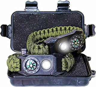 Cool Survival LED Paracord Bracelet Valentine's Day Birthday Gifts for Boyfriend Teen Boy Scouts, 6-in-1 Survival Bracelet SOS Everyday Carry Gear with Function Flashlight Fire Starter & Whistle