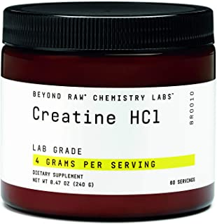 Beyond Raw Chemistry Labs Creatine HCL Powder Supplement 4000mg | 60 Servings | Pre Workout Supplement
