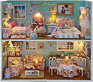 Kisoy 4pcs Romantic and Cute Dollhouse Miniature DIY House Kit Creative Room Perfect DIY Gift for Friends,Lovers and Families-Plus Dust Proof Cover