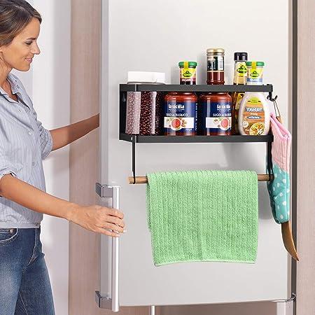 Étagère de rangement pour épices pour réfrigérateur - Porte-serviettes en papier pour organisateur de porte-épices pour réfrigérateur magnétique, grande capacité de poids antirouille avec 2 crochets