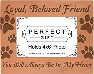 Gifts For All By Rachel Olevia Pet Memorial Gift Remembrance of Dog or Cat Natural Wood Engraved 4x6 Landscape Picture Frame Wood
