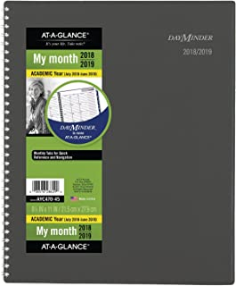 AT-A-GLANCE 2018-2019 Academic Year Monthly Planner, Large, 8-1/2 x 11, DayMinder, Charcoal (AYC47045)
