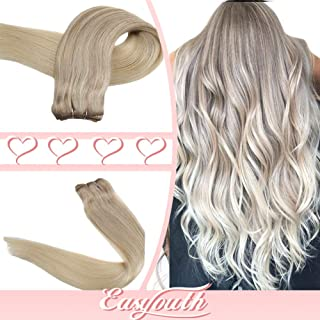 Easyouth Remy Sew in Extensions Human Hair 14 Inch Color 18 Highlights with 22 Fading to 60 Balayage Blond Color 70g per Pack Straight Hair Brazilian Hair Weft